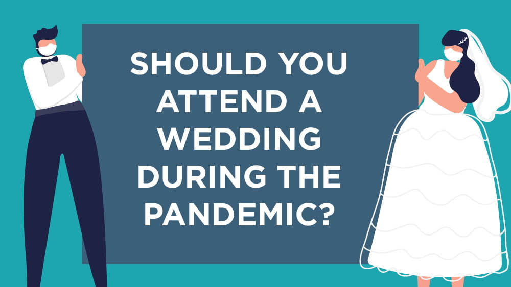 Illustration of bride and groom asking if you should attend a wedding during the pandmic