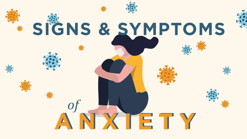Illustration of woman with covid anxiety symptoms