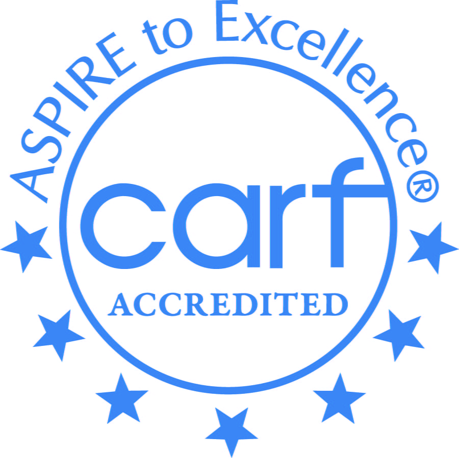CARF accreditation seal.