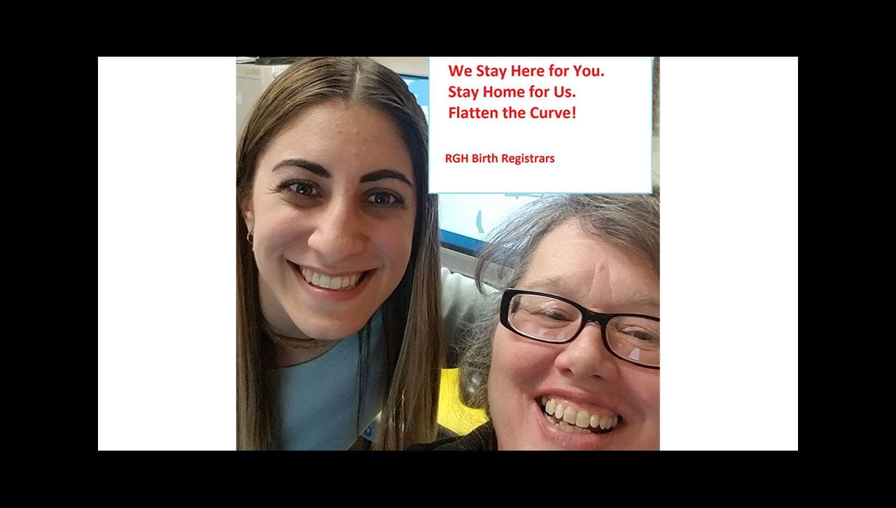 Ashlei and Stacey Flatten the Curve Birth Registrar COVID stay home message