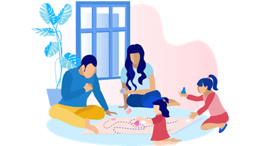 family on floor playing games