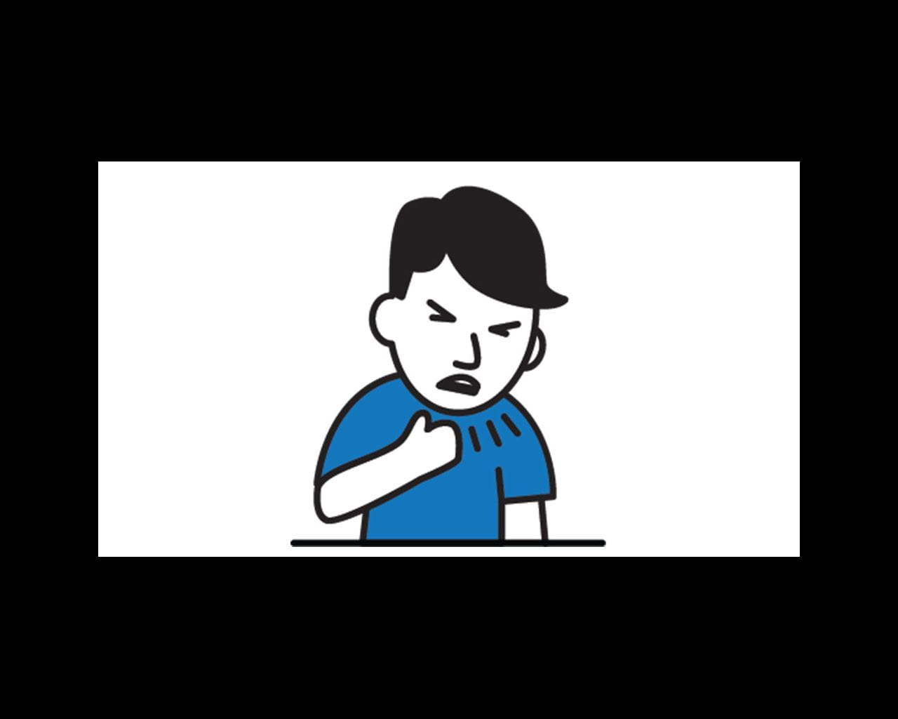 person coughing cartoon