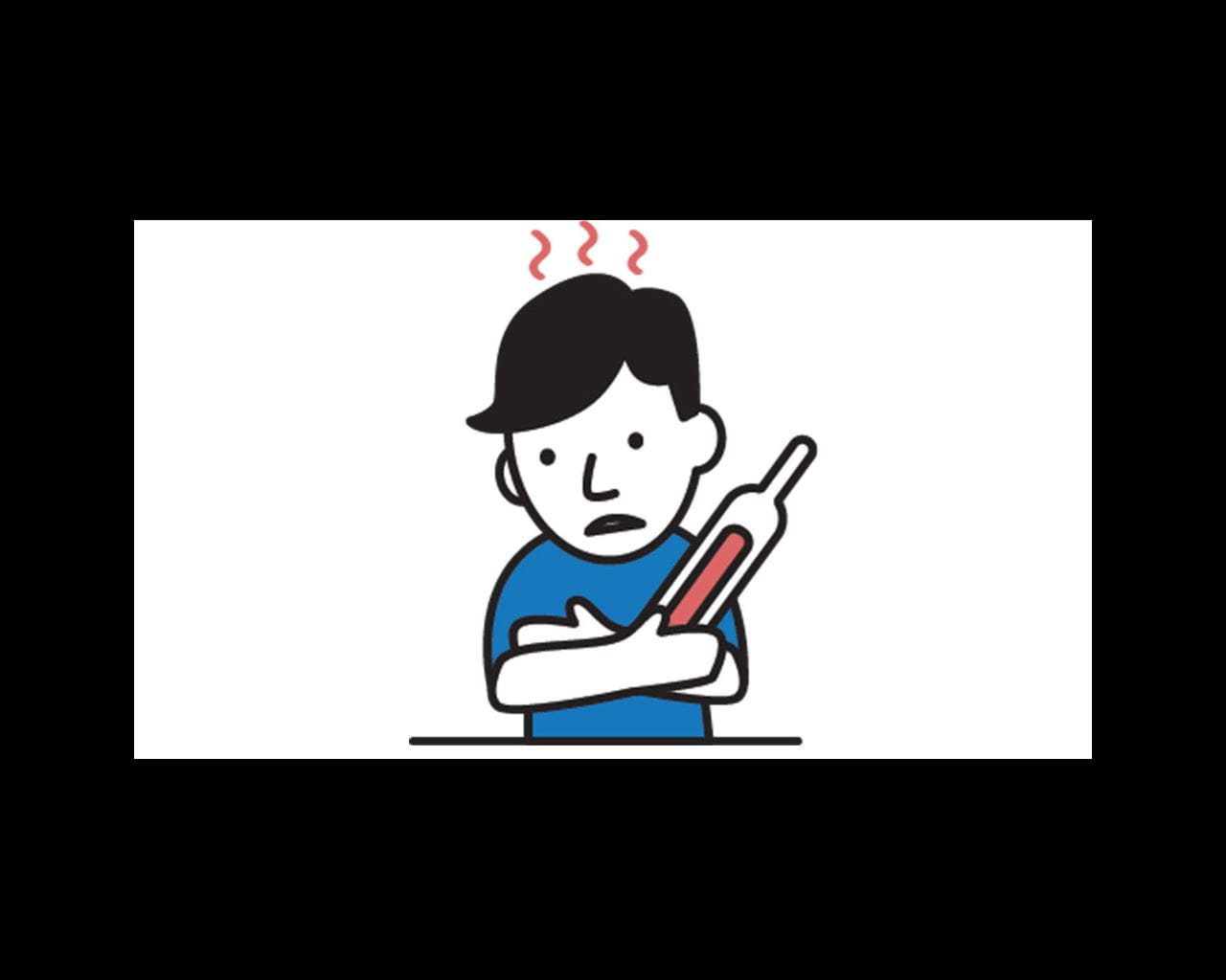 person with fever cartoon