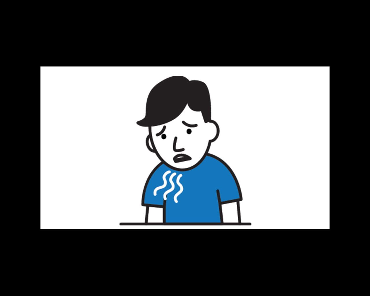 person with shortness of breath cartoon